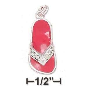 Pink Enamel Sandal Charm Yellow Crystal strap   JewelryWeb Jewelry