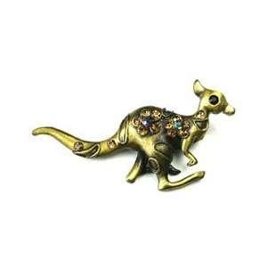 Citrine Austrian Rhinestone Kangaroo Copper Tone Brooch Pin Jewelry