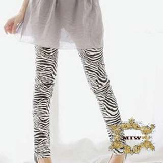 Black & White Zebra Animal Prints Cotton Skinny Pants Leggings |