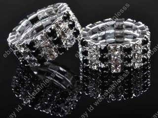 NEW HOT 3Rows Fashion Black Crystal Rhinestone Cute Stretch Wedding