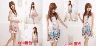 BOHO Exotic Floral Prints Chiffon Dress Multi Colors style