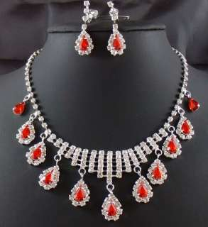 Wedding Bridal Ruby crystal necklace drop earring Sliver Jewelry set