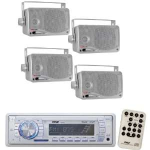 Pyle Marine Radio Receiver and Speaker Package   PLMR19W