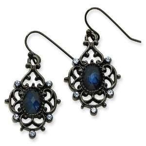Black plated Light and Dark Blue Crystal Drop Earrings