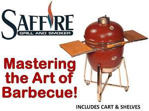 Saffire Kamado Charcoal BBQ Grill With Cart & Shelves