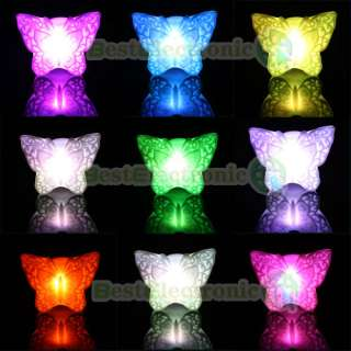 Lovely Butterfly Colorful LED Night Light Lamp NEW