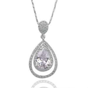 White Gold Tear Of Snow Love Forever 18k Gold Plated Necklace