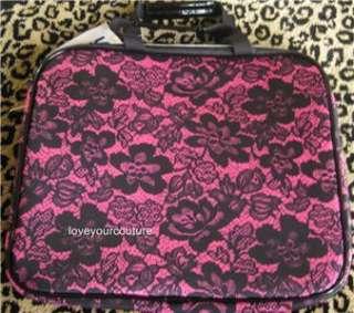 Betsey Johnson Femme Fatale Pink Black Padded Laptop Computer Bag