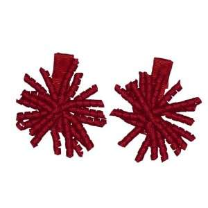1.5 Red Mini Korker Girls Hair Bow Clips, Pair Beauty