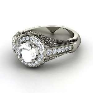 Primrose Ring, Round Rock Crystal 14K White Gold Ring with