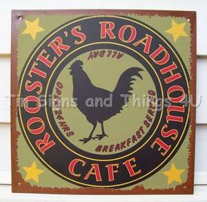 Rooster Roadhouse Cafe TIN SIGN vtg metal wall decor kitchen rustic