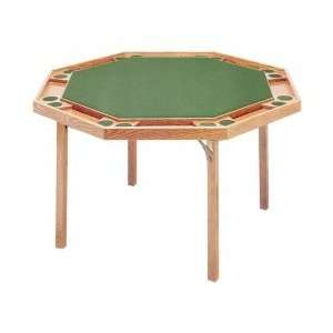 Solid Wood Octagonal Poker Table with Upholstered Top