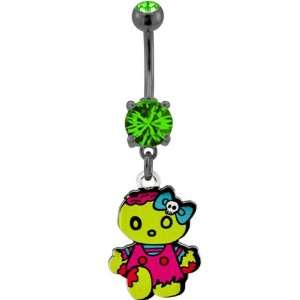 Banana Belly Ring with Emerald Green Prong Set with Bloody Zombie Girl