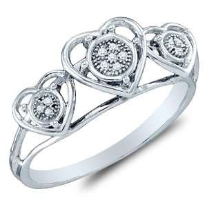 Size 9.5   10K White Gold Heart Engagement OR Fashion Right Hand Ring