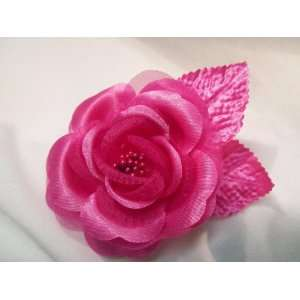 NEW Bright Pink Rose with Leaves Hair Clip, Limited