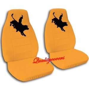 Complete set of Orange Bull Rider seat covers for a Jeep Wrangler YJ