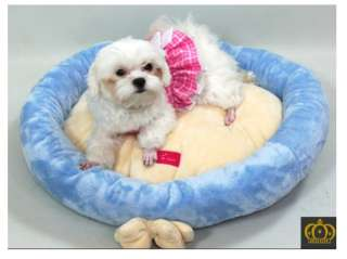 PET DOG CAT CUSHION BED ~PINK BLUE