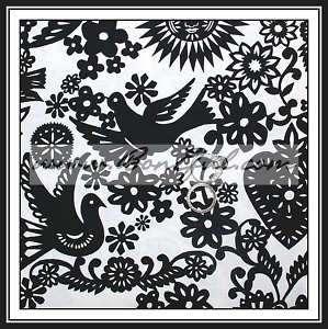 BOOAK Fabric B&W Toile LOVE Bird Heart Damask Valentine Lace Cotton