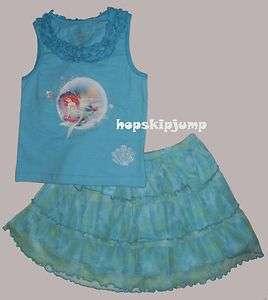 DISNEY ARIEL Little Mermaid TANK & TUTU SKIRT 2T 3T 4T 5T ~ NWT