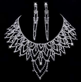 Full Rhinestone Crystal Clear Pageant Diva Necklace Long Earring 1Set