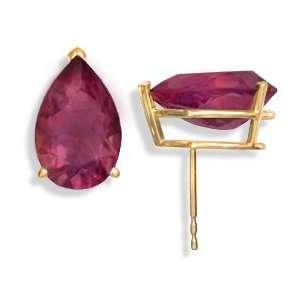 14KT Rhodolite Garnet Earrings Gold and Diamond Source