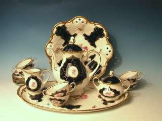 FINE REICHENBACH PORCELAIN CHINA ECHT KOBALT COBALT BLUE TEA SET