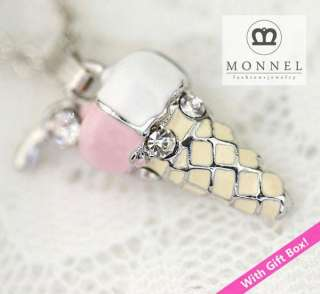 R170 Cute Ice cream Charm Pendant Necklace (+Gift Box)