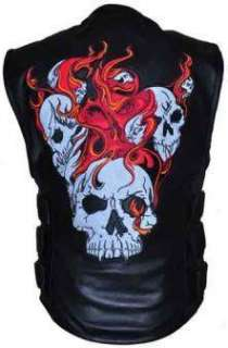 Style Leather Reflective Flaming Skull Motorcycle Biker Vest