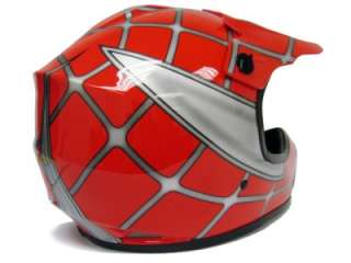YOUTH RED SPIDER NET DIRT BIKE ATV MOTOCROSS HELMET ~S