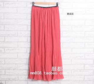 2012 New Styles Women Chiffon Pleated Long Skirt Elastic Waistband