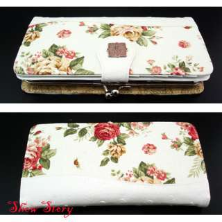 New Womens Cute White Flower Pattern Long Wallet/Purse