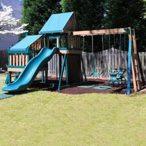 Kidwise Green Monkey Play Set II Wood Swing Set: Toys & Games