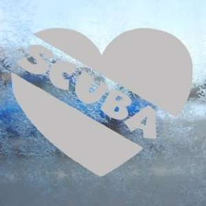 Love Scuba Diver Heart Gray Decal Dive Flag Car Gray