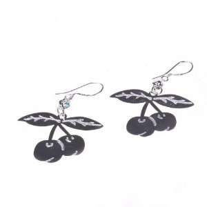Silver Big Cherry Shape Charming Eardrop Earrings For