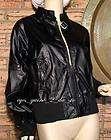 Black Vinyl Biker Look Rocker Punk Rain Jacket Size Medium womens NWT