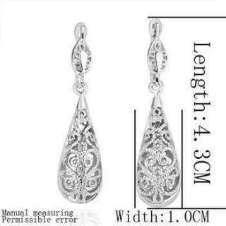 E97 18K white Gold plated Swarovski crystal charm hollow earrings