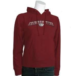Alabama Crimson Tide Crimson Ladies Striped Lettering Hoody Sweatshirt