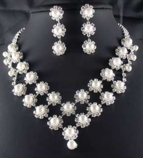 edding/Bridal Pearl crystal necklace earring Sliver Jewelry set