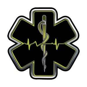 Yellow EMT EMS Star Of Life With Heartbeat   16 h