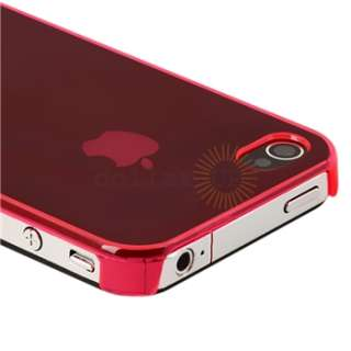 Clear Red Plastic Hard CASE+PRIVACY LCD Filter Protector for iPhone 4