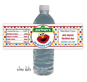 Elmo Sesame Street Birthday Party Water Bottle Labels