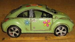 Decorative Metal Volkswagen Beetle Flower Power Car Hippie Retro Look