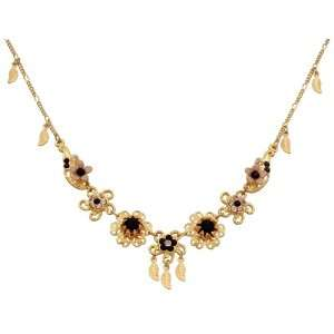 Michal Negrin Enticing Gold Plated Necklace Ornate with Flower Shape