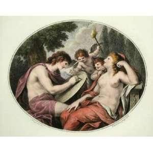 Cupids   Pl. II Oval Etching Cipriani, Giovanni Battista Bartolozzi