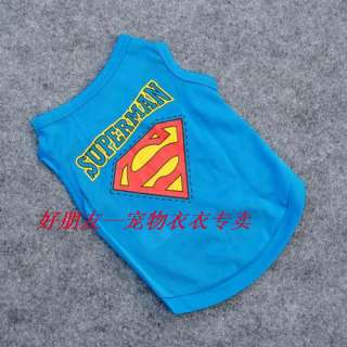 Cute Pet Dog Poodles Teddy Clothes SUPERMEN blue T Shirt Vest S/M/L
