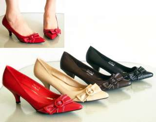 New Comfy Low Med Heels Pointed Closed Toe Pumps Bow Red Beige Brown