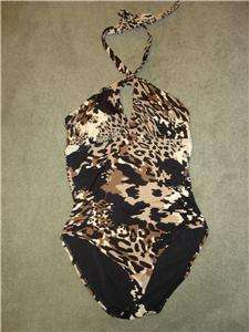 NWT $76 Tropical Escape ANIMAL LEOPARD Print 1 Piece Swimsuit Womens