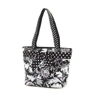 Monogrammable Black & White Floral Paisley Quilted Bucket