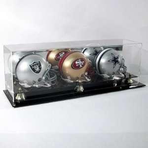 Acrylic Triple Mini Football Helmet Display Case w Black Base