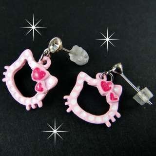 E650 Cute dangle metal earring pink kitty head